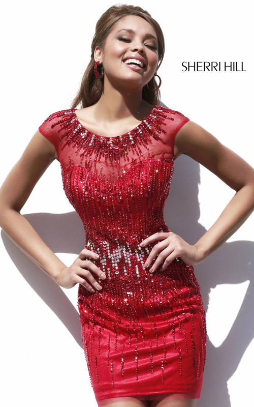 beads mini sexy sherri hill homeoming dress red 9718