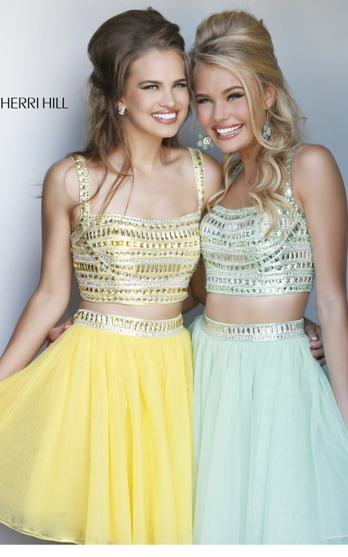 beads two piece cocktail dress yellow Sherri Hill 11060