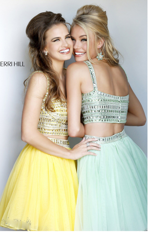 beads two piece cocktail dress yellow Sherri Hill 11060_1