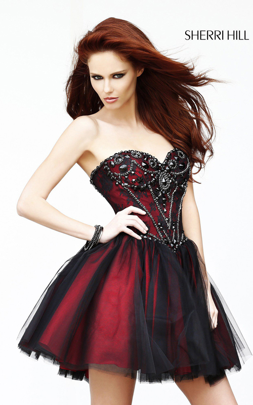 black red Sherri Hill 21156 a line homecoming dress