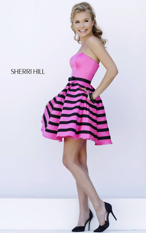 fuchsia Sherri Hill 32200 stripes short homecoming dress