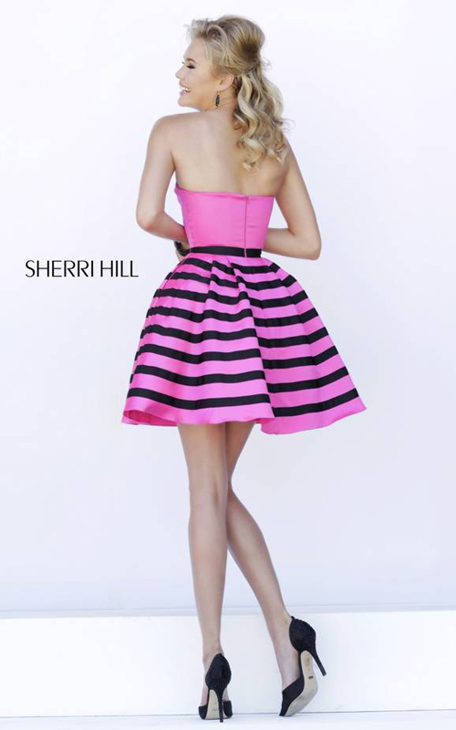 fuchsia Sherri Hill 32200 stripes short homecoming dress_1
