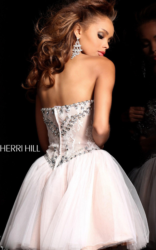 ivory Sherri Hill 21156 short strapless party dress 2015_1