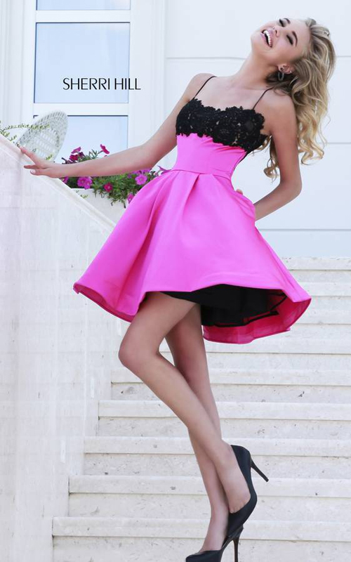 lace Sherri Hill 32099 fuchsia homecoming dress 2015