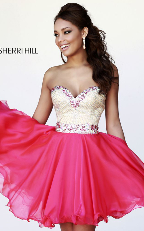 Sherri Hill 1929 strawberry chiffon beads junior dress