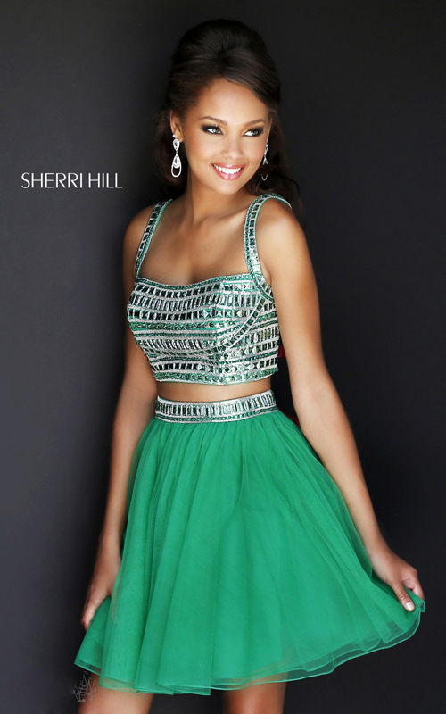 sherri hill two piece homecoming dress emerald 11060