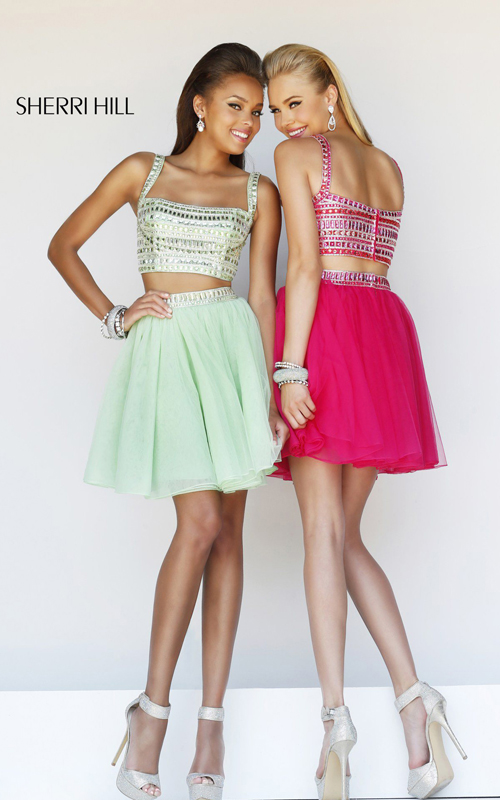 two piece homecoming dress fuchsia Sherri Hill 11060_1