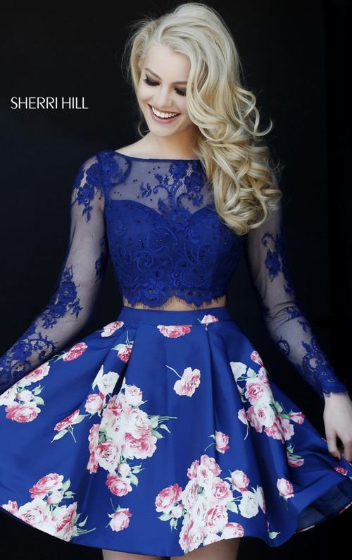 2015 Floral Homecoming Dress Royal Sherri Hill 32323