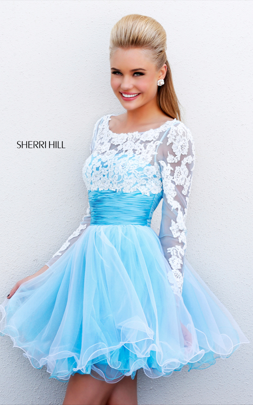 2015 Sherri Hill 21234 blue white homecoming dress lace