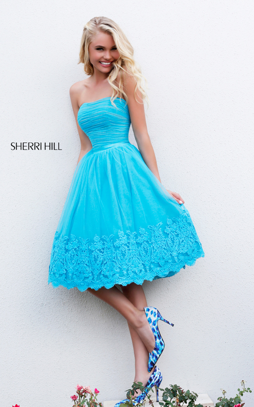 A Line Sherri Hill 11092 Short Turquoise Cocktail Dress