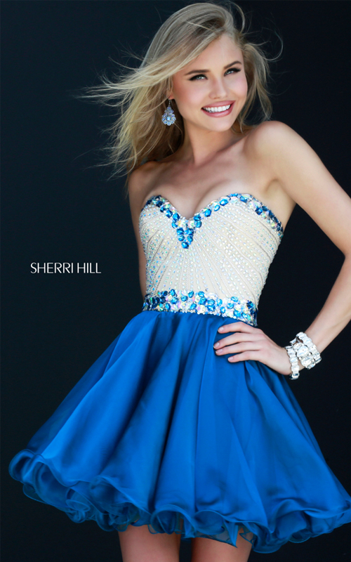 a line Sherri Hill 1929 strapless cocktail dress short royal