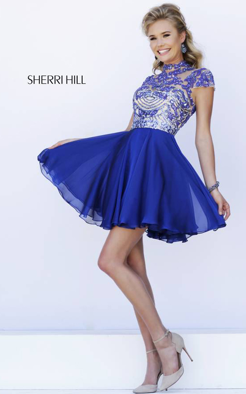 a line Sherri Hill 1938 royal short homecoming dress 2015