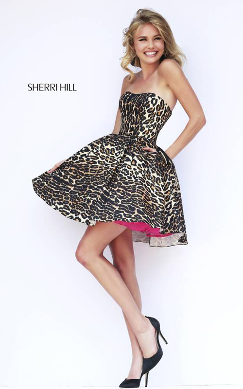 A Line Sherri Hill 32106 Leopard Homecoming Dress Short