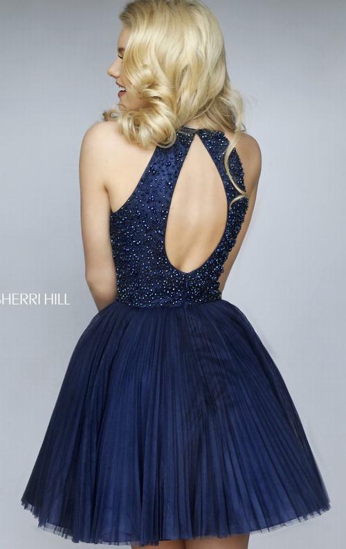 Beads Sherri Hill 32335 Halter Homecoming Dress Navy_1