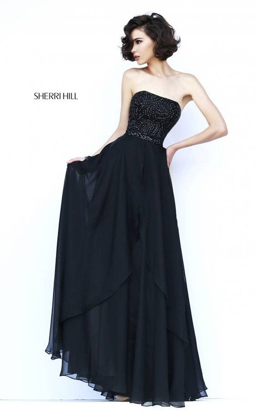 Black Sherri Hill 1941 Strapless Homecoming Dress
