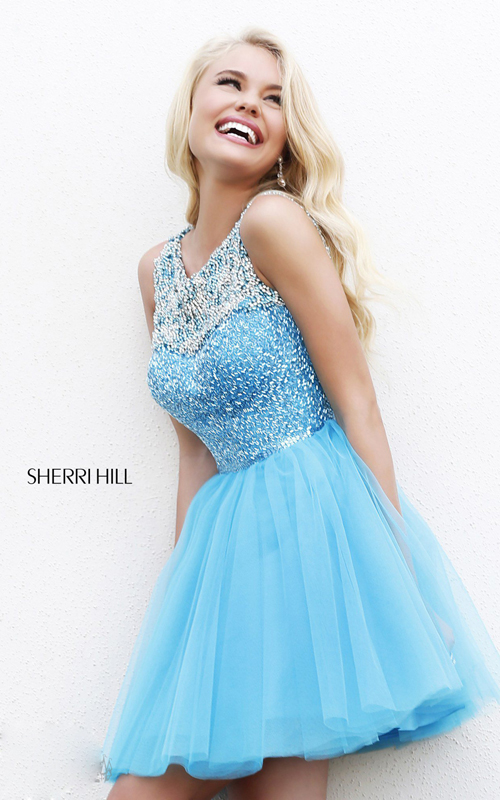 blue beads homecoming dress 2015 Sherri Hill 11045