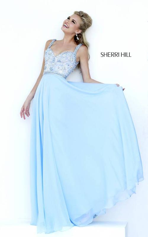 Blue Beads Sherri Hill 8552 Prom Dress Crystal 2015