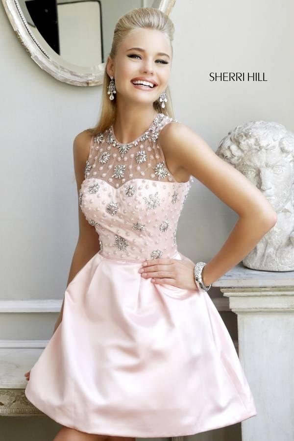 Blush Sherri Hill 21323 Beaded Short Homecoming Dress