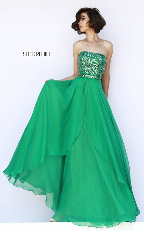 Chiffon Green Sherri Hill 1941 Beads Prom Dress 2015