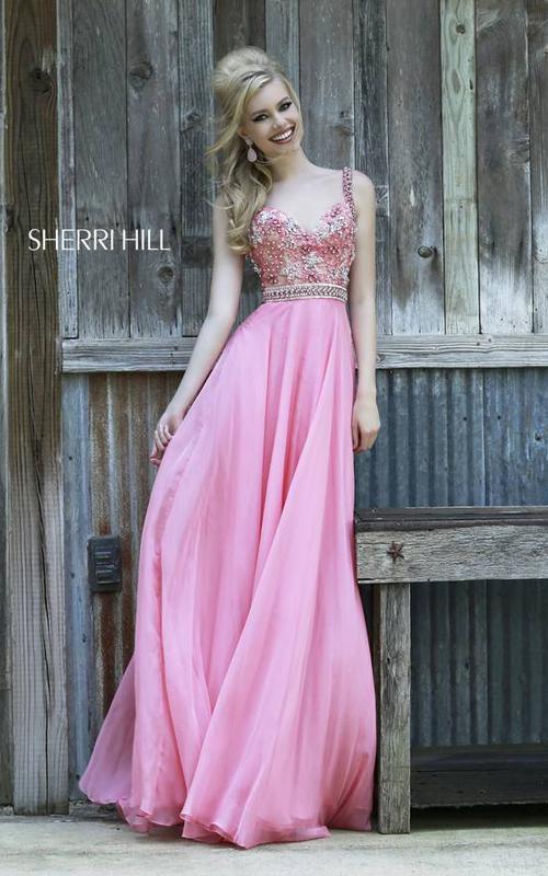 Chiffon Sherri Hill 8552 Coral Fantastic Dress 2015