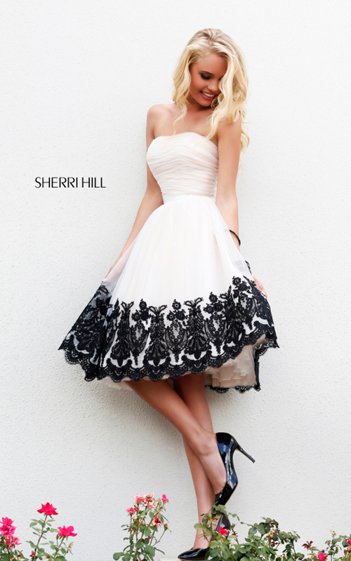 Classic Sherri Hill 11092 White Homecoming Dress 2015