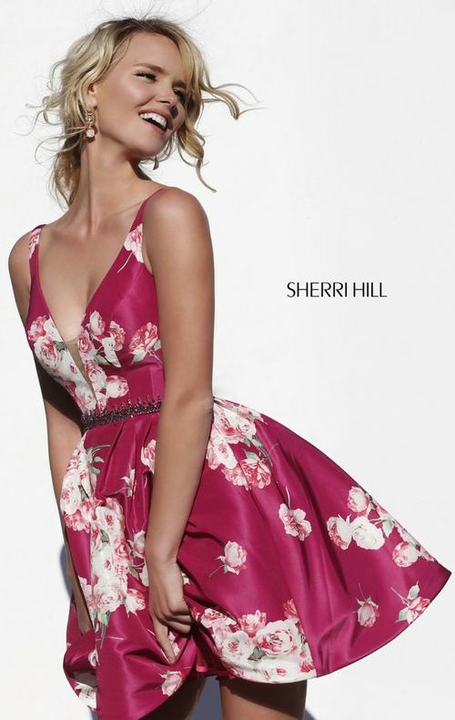 Floral Sherri Hill 32321 Short Homecoming Dress 2015