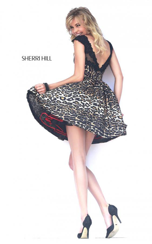Lace Sherri Hill 32111 Leopard Homecoming Dress 2015_1