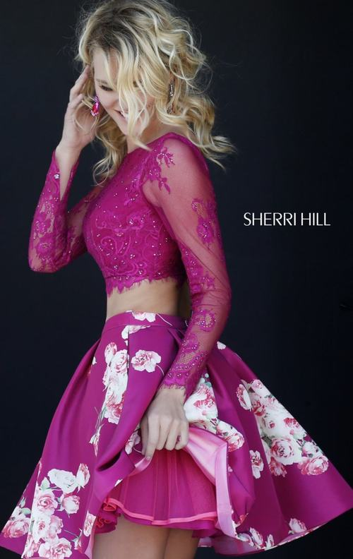 Lace Sherri Hill 32323 Two Piece Homecoming Dress 2015_1