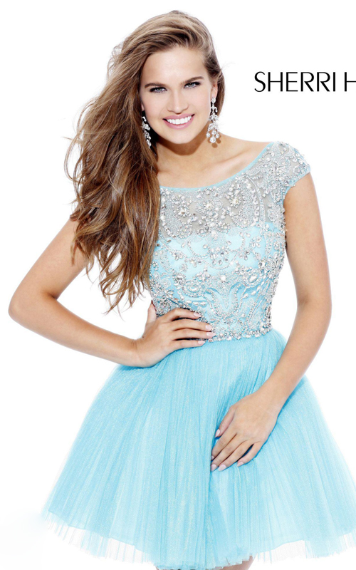 light blue Sherri Hill 2814 cute sweet 16 party dress short