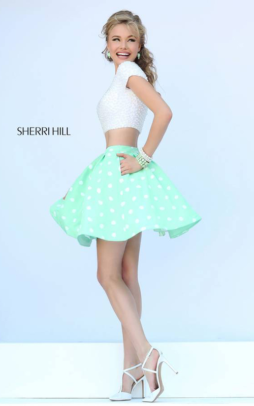 Mint Sherri Hill 32247 Pearl Party Dress Two Piece