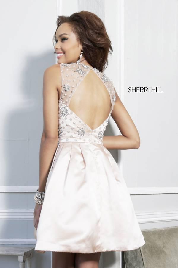 Nude Sherri Hill 21323 Beaded A Line Babydoll Dress_1