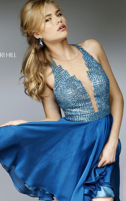 Peacock Sherri Hill 1971 Beads Homecoming Dress 2015