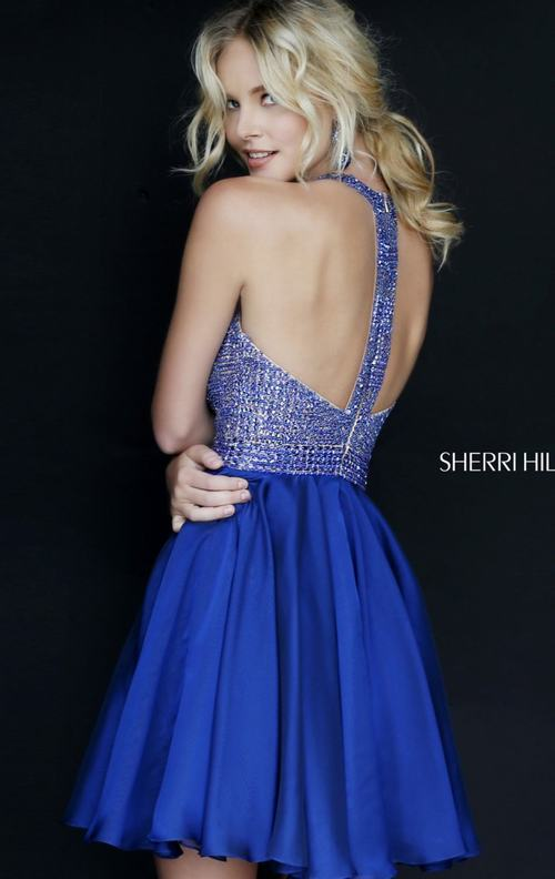 Scoop Neck Sherri Hill 1971 Royal Homecoming Dress_1