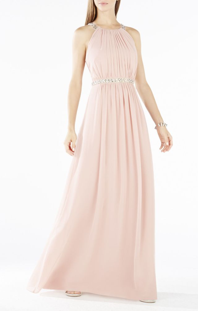 2015 BCBG Celestine Beaded Halter Evening Gown