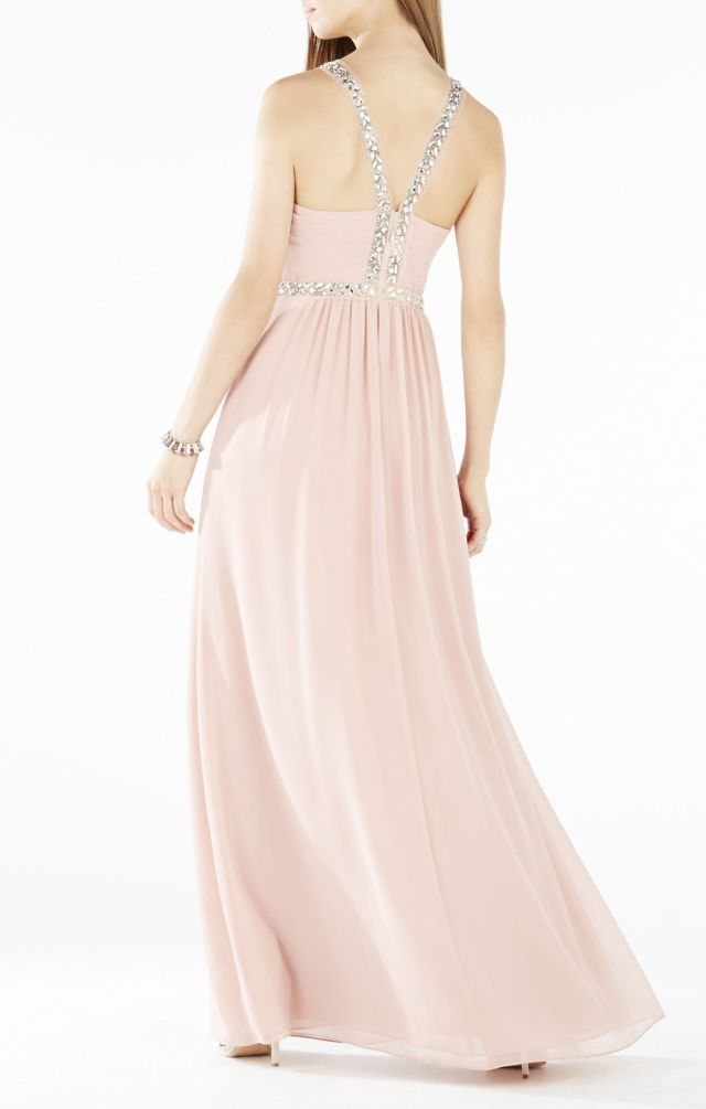 2015 BCBG Celestine Beaded Halter Evening Gown_1