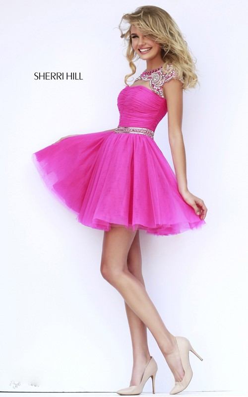 2015 homecoming dress fuchsia Sherri Hill 11191 short