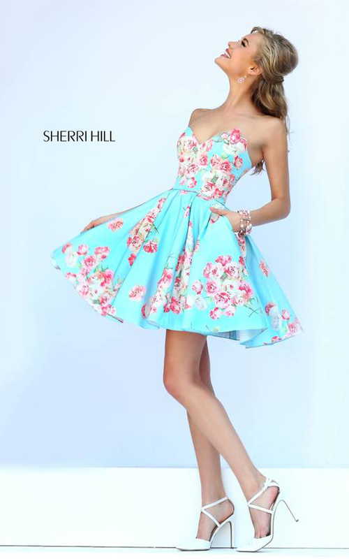 2015 Sherri Hill 32246 Floral Homecoming Dress Blue