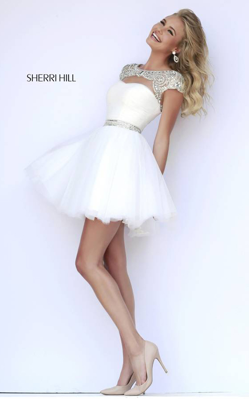 2015 white homecoming dress short Sherri Hill 11191