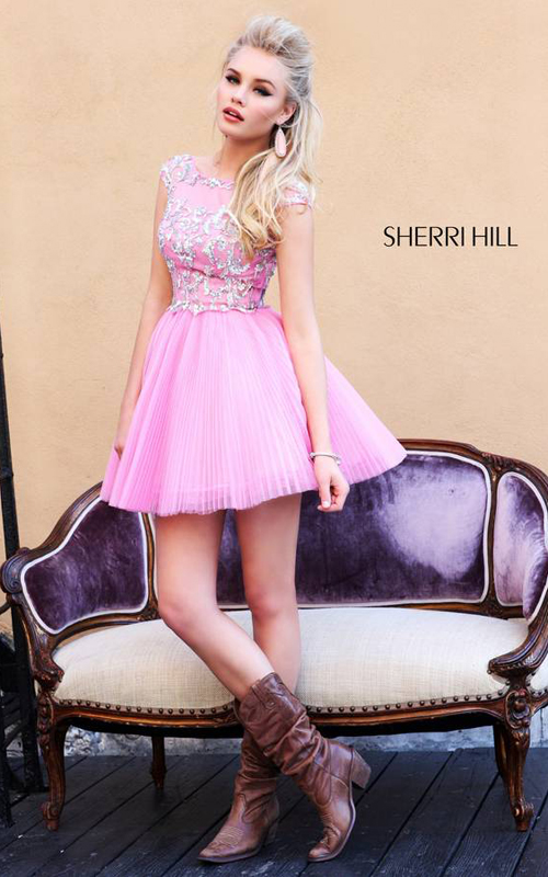 A Line Sherri Hill 21032 Pink Homecoming Dress Beads