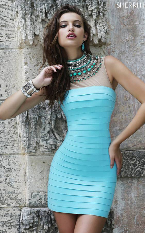 Aqua Sherri Hill 32080 Bandage Homecoming Dress 2015