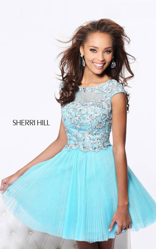 Beads Sherri Hill 21032 Pleated Short Gala Dress Blue