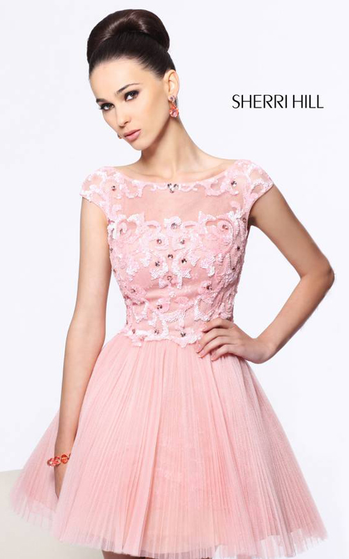 Blush Sherri Hill 21032 Short Beads Homecoming Dress