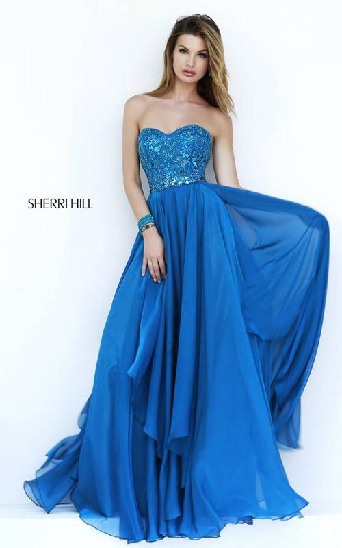 Chiffon Sherri Hill 1943 Homeceoming Dress Navy