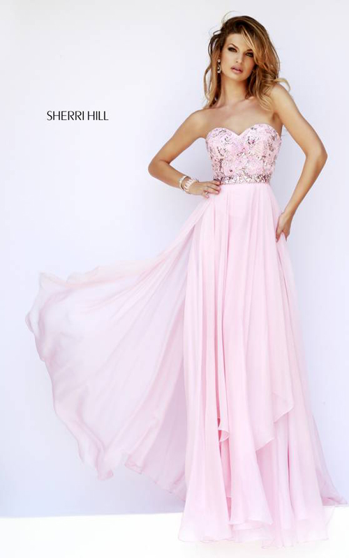 Fashion Sherri Hill 1943 Pink Homeceoming Dress 2015
