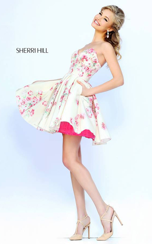 Floral Sherri Hill 32246 Short Homecoming Dress Pink