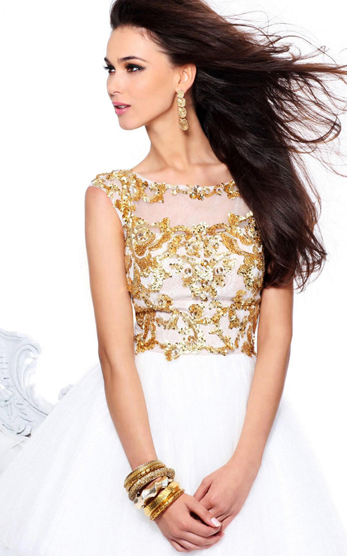 Gold Ivory Sherri Hill 21032 Beads Homecoming Dress