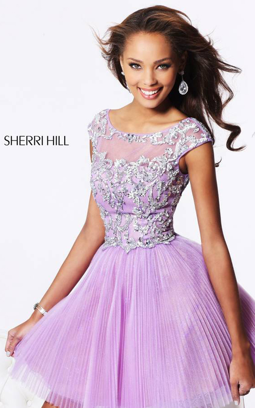 Lilac Sherri Hill 21032 V Back Homecoming Dress Cheap