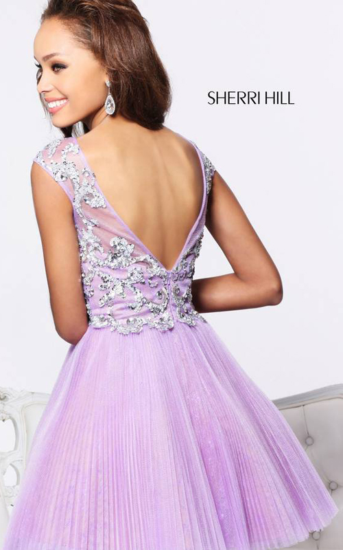 Lilac Sherri Hill 21032 V Back Homecoming Dress Cheap_1