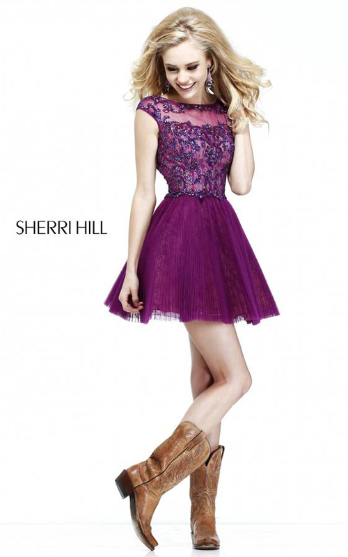 Plum Sherri Hill 21032 Cap Sleeve Cocktail Dress Short