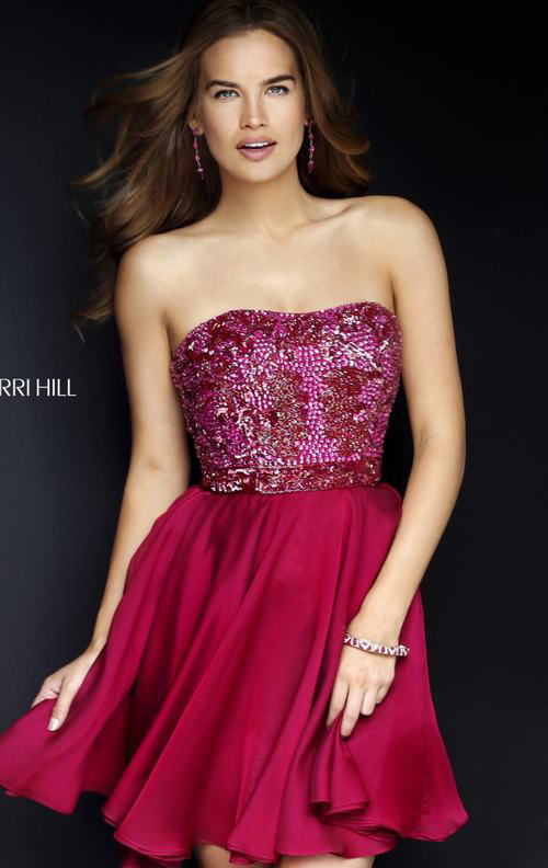 Ruby Sherri Hill 1954 Strapless Homecoming Dress